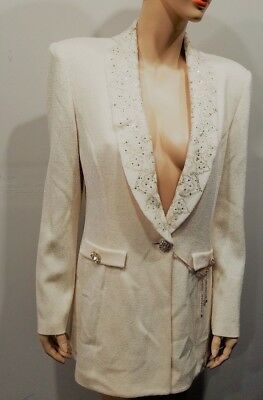 ST JOHN Evening by Marie Gray Size 10 Cream Off White Santan Knit Blazer Jacket