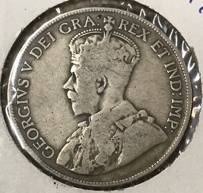 1917 Canada Silver 50 Fifty Cents Half Dollar Coin (92.5% Sterling Silver)