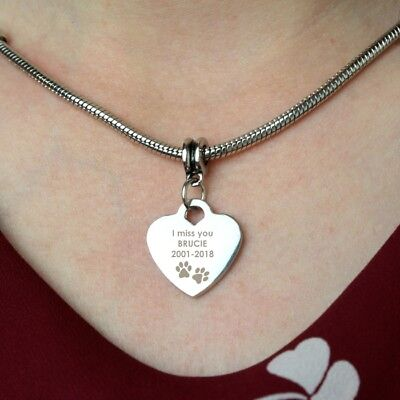 Personalised PAWPRINTS HEART NECKLACE Pet Memorial Dog Cat Gift Loss of Pet