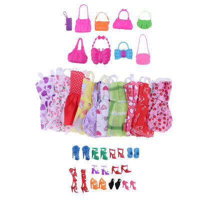Fashion Party Daily Wear Dress Clothes Shoes Bags For Barbie Doll 30 Items