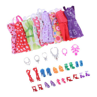 Fashion Party Daily Wear Dress Clothes Shoes Necklaces For Barbie Doll 26pcs