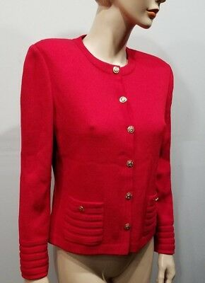 ST JOHN Collection by Marie Gray Size 6 Red Blazer Jacket. FREE SKIRT