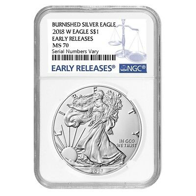 2018-W 1 oz Burnished Silver American Eagle NGC MS 70 Early Releases