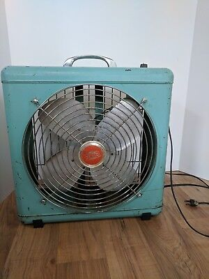 Vintage Wizard Turquoise Electric Fan