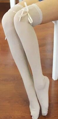 Regency Style Ivory Cotton Stockings With Ribbon Garter