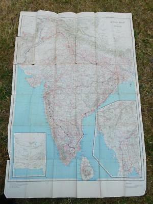 "Vintage 1945 Road Map of India 1"" to 50 miles Survey India Offices HLO UK govt"