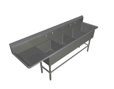 """John Boos 4PB16184-1D24L 4 Compartment 16"""" x 18"""" Stainless Steel Pro-Bowl Sink"""