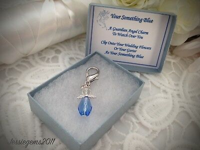 Something Blue Guardian Angel Charm Bridal Gift Bouquet Charm Hen Party Gift