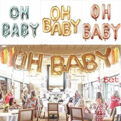 """1Set 16 Inch """"OH BABY"""" Letter Foil Balloon Helium Baby Shower Party Decoration"""