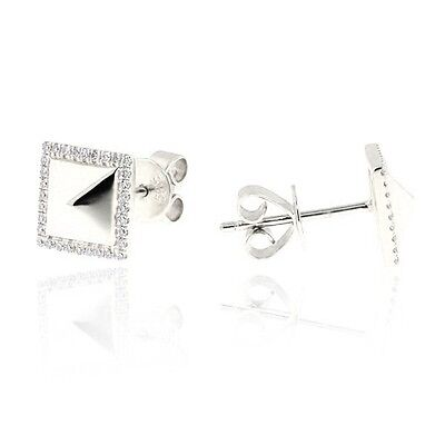 Square Geometric Round 100% Natural Diamond Earrings 14k Gold 0.14 Ct.