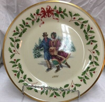 Lenox Holiday Beautiful Collectors Plate Skaters 1998   I Box On These Two