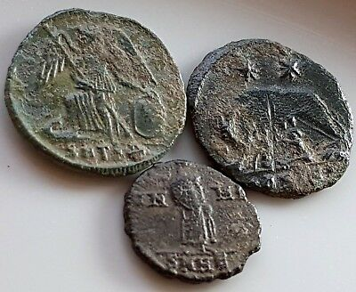 LOT OF 3 ANCIENT ROMAN BRONZE COINS She wolf Constantinopolis Victory