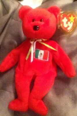 TY Beanie Baby - OSITO the Mexician Bear Mexico - Retired- With Tag Protector
