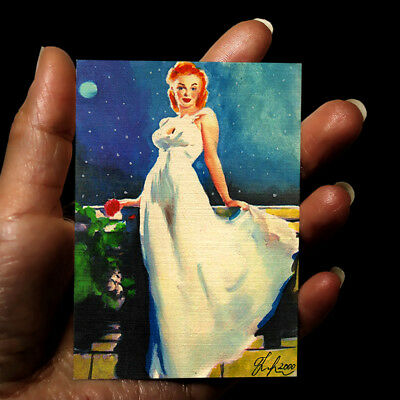 """ORIGINAL HAND PAINTING DRAWING ART WATERCOLOR MINIATURE PICTURE ACEO """"Pin-Up"""""""