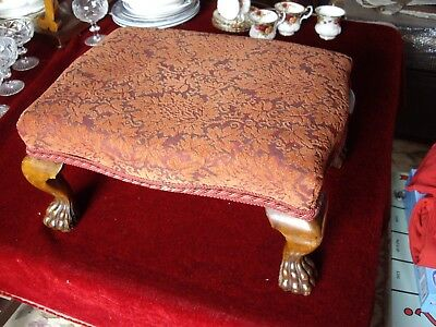 Quality Serpentine shaped Mahogany Stool Upholstered cover