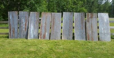 "9 pieces of Vintage Metal CORRUGATED TIN 26"" x 72"""