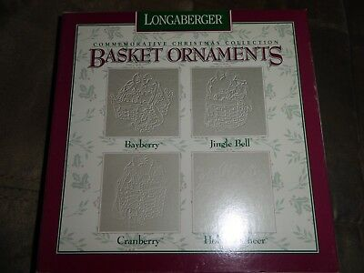 Longaberger 4 Pewter Ornaments 1997 Bayberry Jingle Bell Holiday Cheer Cranberry