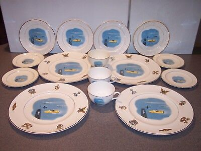 15 Pc American Ceramic Ind. WS George Military 22 Carat Gold Trim Dinnerware