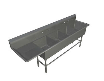 """John Boos 4PB244-1D24L 4 Compartment 24"""" x 24"""" Stainless Steel Pro-Bowl Sink"""