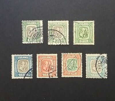 Iceland 1907-1915 Two Kings stamps used