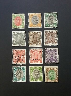 Iceland King Christian X used stamps