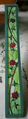 Leaded Stain Glass Panel with Red Roses for Wall