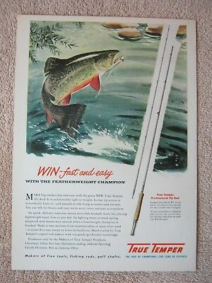 Vintage 1949 True Temper Professional Fly Fishing Rod Rainbow Trout Print Ad