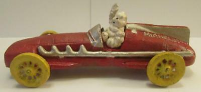 Very Nice Cast Iron Red Michelin Man Car Signed 1934 HUBLEY