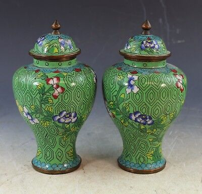 Pair Of Vintage Chinese Cloisonne Tea Caddies With Marked