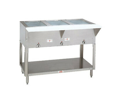 """Advance Tabco 47"""" Electric 3 Sealed Hot Food Wells Table w/ Drains 120v"""