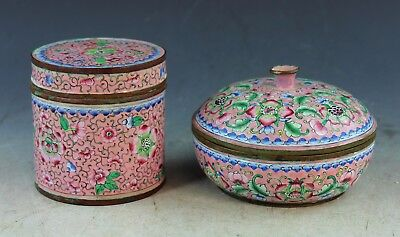 Lot Of 2 Vintage Chinese Hand Painted  Enamel Tea Caddy & Box