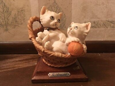 VINTAGE GIUSEPPE ARMANI 1984 Italy Two Kittens in Basket SIGNED