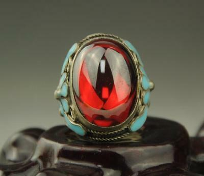 Collectible Chinese Inlay red Jade Old Tibet Silver Cloisonne Flower Ring a02
