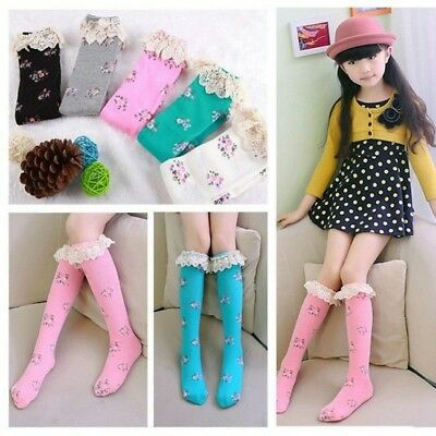 Cotton Toddlers Girls Boot Knee High Socks Long Floral Leg Tights Stocking 3-10Y