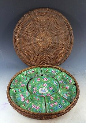 Antique Chinese Hand Painted  Enamel Candy Set With Case