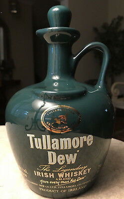 Tullamore Dew Decanter Ceramic Bottle Irish Whiskey Ireland Rare Green Very Rare