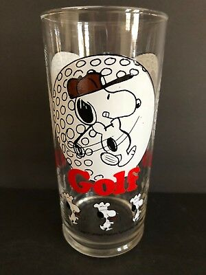 Vintage 1958 Charles Schulz PEANUTS SNOOPY GOLF Drinking 6.25 inch GLASS