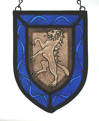 Stained Glass,Hand Painted,Kiln Fired, Sea Dog Heraldic Shield Panel, 1301-03