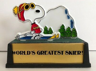 Vintage 1966 AVIVA Snoopy Snow Trophy WORLD'S GREATEST SKIER statue