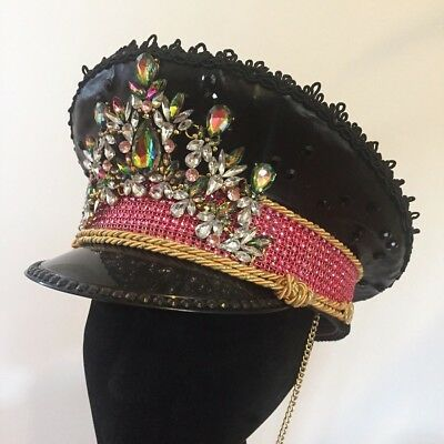 Burning Man Military Festival Doof Hat • Faux Leather And Pink Rhinestone