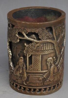 Old Chinese brass Old man Playing chess pine Lucky Brush Pot Pencil Vase e01