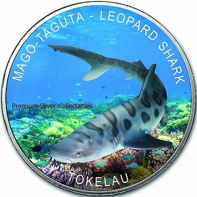 2018 Tokelau Colorized Leopard Shark 1 Ounce Pure Silver .999 Collect the Series
