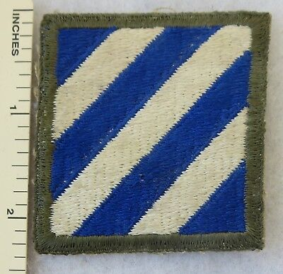Used WW2 Vintage 3rd INFANTRY DIVISION PATCH US ARMY Cut Edge OD Border ORIGINAL