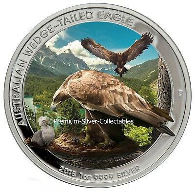 2018 Australia Silver Wedge-Tailed Eagle - 1 Ounce Pure Silver Colorized Coin!