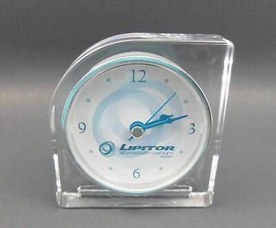 LIPITOR Lucite Battery Desk Clock Pharma Advertising w/Sweep Second Hand