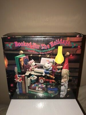 """1995 Booked For The Holidays Plays """"white Christmas"""" Animated Music Box Enesco!"""