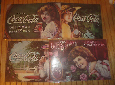 Set of 4 Vintage Coca Cola Coke Advertising Laminated Placemats Ladies