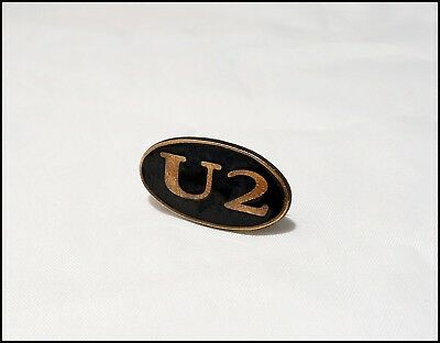 U2 Vintage 80's Metal Promo Pin Pinback Badge Bono Bronze/Black