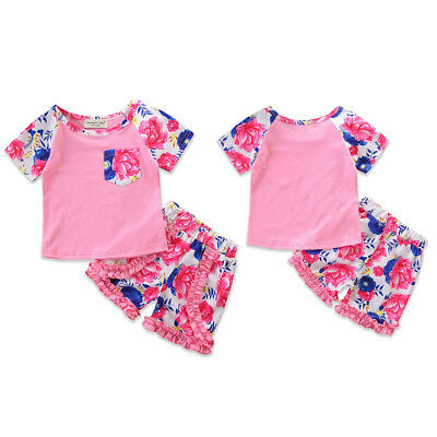0Toddler Kids Baby Girl T-shirt Tops+Pants Summer Casual Outfit Clothes 2PCS Set