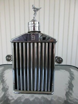"9505 ~1960's Rolls-Royce Radiator Shaped Musical Decanter ""How Dry I Am"" Barware"